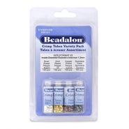 Beadalon Quetschperlen rohrform Pack (1.3mm) Silber, Gold, Copper, Hematite