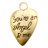 "Metall Anhänger TQ Herz ""You're an Angel to me"" Gold (nickelfrei)"