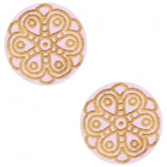 Holz Cabochon Mandala 12mm Light lavender purple