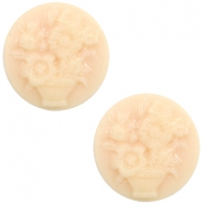 Cabochon Basic Camee 20mm Blumenstrauss Light peach-beige