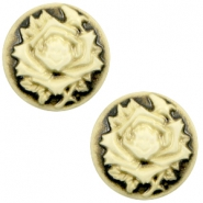 Cabochon Basic Camee 12mm Rose Black-antique gold