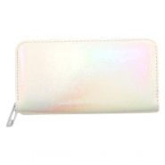 Trendy Portemonnaie holographic Metallic rainbow-off white