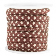 Trendy gesteppt Kordel Stern 6x4mm Aubergine red-brown
