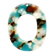 Resin Anhänger oval 48X39mm Turquoise-braun
