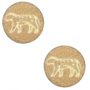 Holz Cabochon Leopard 12mm Gold