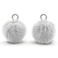 Pompom Anhänger mit Öse faux fur 12mm Light grey-silver