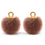 Pompom Anhänger mit Öse faux fur 12mm Red brown-gold