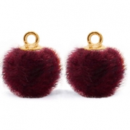 Pompom Anhänger mit Öse faux fur 12mm Port purple red-gold