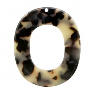Resin Anhänger oval 48x40mm Creme-black