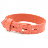 Cuoio Armbänder Leder 15 mm für 20 mm Cabochon Living coral red