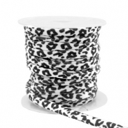 Gestepptes Elastisches Band Leopard White-black