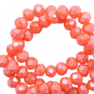 Top Glas Facett Perlen 8x6 mm rondellen Tigerlily coral red-pearl shine coating