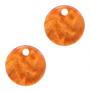Resin Anhänger rund 12mm Flame orange