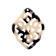 Resin Anhänger Rhombus Barock Cream black
