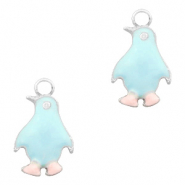 Basic quality Metall Anhänger Pinguin Silber-Light blue pink