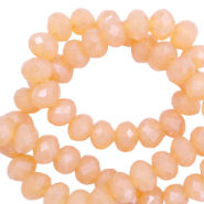 Top Glas Facett Perlen 8x6 mm rondellen Apricot rose-pearl shine coating