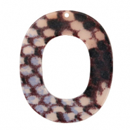 Resin Anhänger Oval 48x40mm Snake matt Grey-dark blue