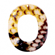 Resin Anhänger Oval 48x40mm Snake shiny Yellow -brown
