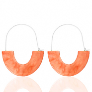 Trendy Ohrringe Resin Living coral red-silver
