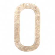 Resin Anhänger lang oval 56x30mm Light semolina beige