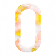 Resin Anhänger lang oval 56x30mm Pink-yellow