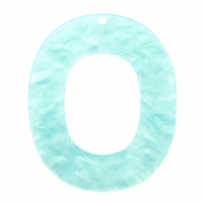 Resin Anhänger Oval 48x40mm Bleached aqua blue