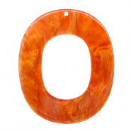 Resin Anhänger Oval 48x40mm Flame orange