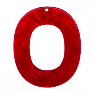 Resin Anhänger Oval 48x40mm Cherry red