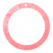 Resin Anhänger rund 35mm  Living coral pink