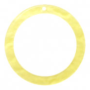 Resin Anhänger rund 35mm  Sunshine yellow