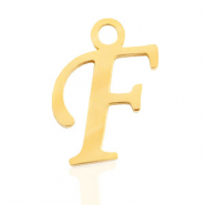 Stainless Steel - Rostfreiem Stahl Anhänger Initial F Gold