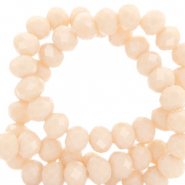Top Glas Facett Perlen 4x3 mm rondellen Delicacy peach beige-pearl shine coating