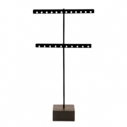 Schmuckdisplay Ohrringe T-Form mit Holz Ständer Black-dark brown