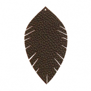 Imi Leder Anhänger Blatt medium Dark chocolate brown