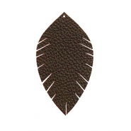 Imi Leder Anhänger Blatt small Dark chocolate brown