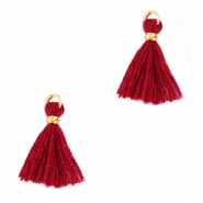 Perlen Quaste 1.5cm Gold-ruby wine red