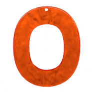 Resin Anhänger Oval 48x40mm Tangerine tango orange