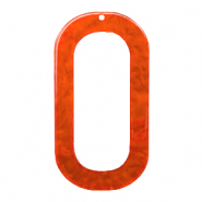 Resin Anhänger lang oval 56x30mm Tangerine tango orange