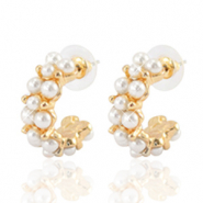 Trendy Ohrringe pearl Creolen 25mm Gold-off white