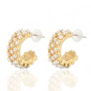 Trendy Ohrringe pearl Creolen 18mm Gold-off white