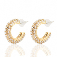 Trendy Ohrringe pearl Creolen 20mm Gold-off white