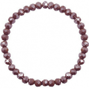 Facett Glas Armbänder 6x4mm Rocky road brown-pearl shine coating