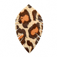 Imi Leder Anhänger Blatt medium Leopard Beige-red brown