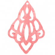 Resin Anhänger Barock Diamant Living coral pink