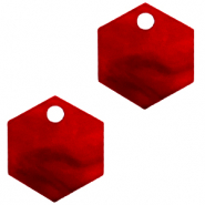 Resin Anhänger Hexagon Cherry red