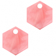 Resin Anhänger Hexagon Living coral pink