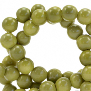 8 mm Glasperlen opaque Green olive