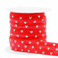 Elastisches Band Herz Red-silver