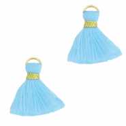 Perlen Quaste 1.5cm Gold-light blue