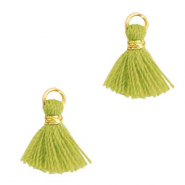 Perlen Quaste 1cm Gold-light olive green